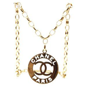 Chanel Gold Cutout Two Way Chain Belt Necklace